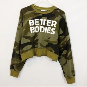 Better Bodies Chelsea Sweater Green Camo Small